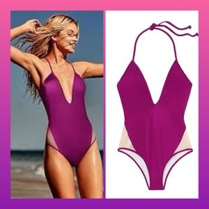 VS PINK Plunge Mesh One Piece Swimsuit